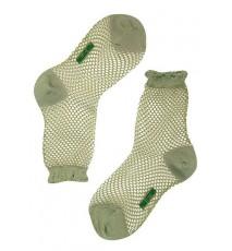 Calcetín rejilla caña corta en color verde oliva