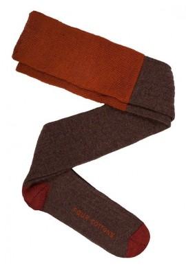 Calza de lana marrón oscuro  y marrón tierra