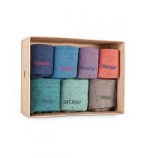 Caja de Cartón de 7 calcetines altos con los días de la semana