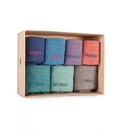Caja de 7 calcetines altos con los días de la semana mélange