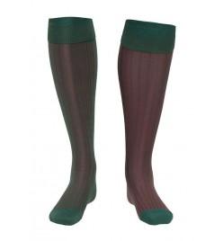 Calcetín de Hilo de Escocia de canalé bicolor verde oscuro y vino