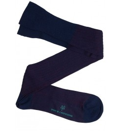 Calcetín de Hilo de Escocia de canale bicolor azul marino y vino