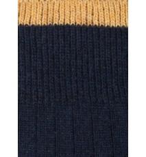 Calcetín de lana con cashmere azul marino y mostaza