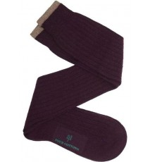 Calcetín de caña alta de lana con cashmere berenjena - beige