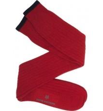 Calcetín de caña alta de lana con cashmere rojo y azul marino