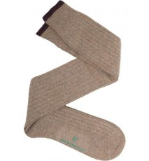 Calcetín de caña alta de lana con cashmere beige - berenjena