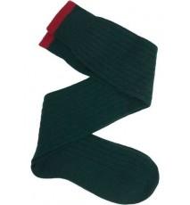 Calcetín de caña alta de lana con cashmere verde oscuro - rojo