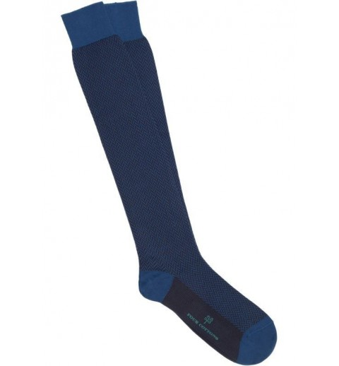 Calcetines de espiga largos en azul raf y chocolate