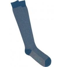 Calcetines de espiga largos en azul petróleo y gris claro
