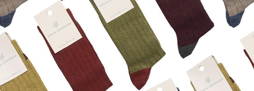 Calcetines de caña alta de algodón peinado para hombres