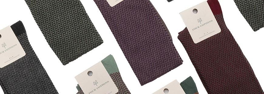 Calcetines largos de algodón con dibujo de espiga en varios colores