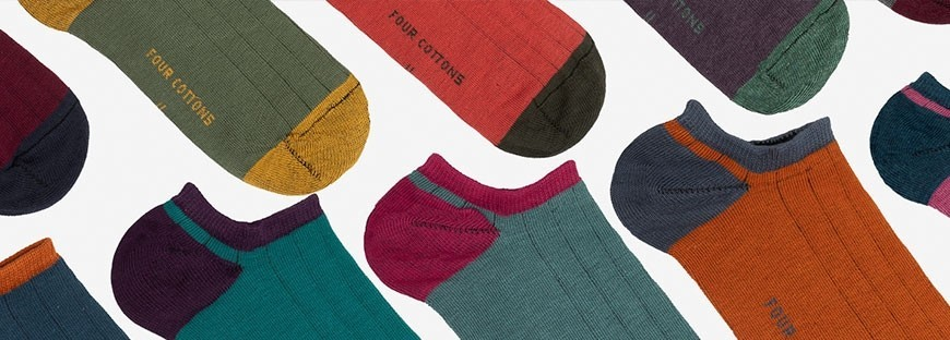 Calcetines tobilleros de algodón de canale en 2 colores Four Cottons