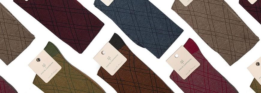 Calcetines altos de algodón peinado de rombos en varios colores